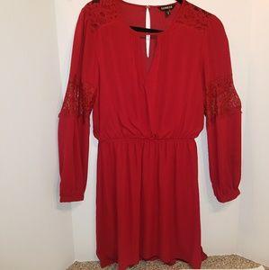 Burgundy lace detail dress